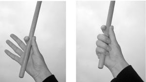 Stockhaltung in Fingertechnik für Drums